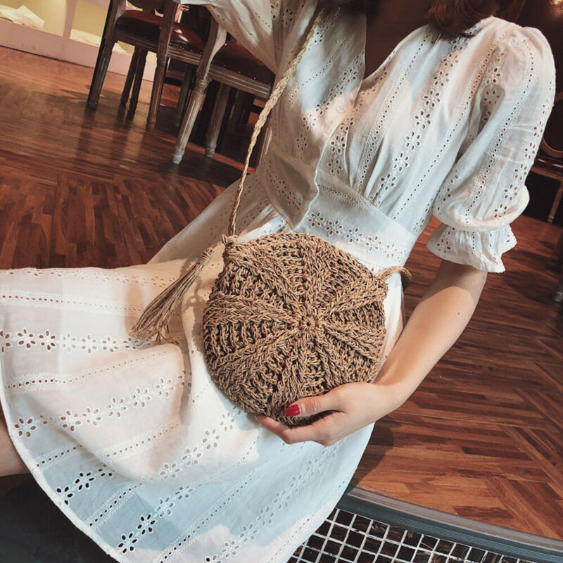 Women Straw Knitted Bag Round Beach Rattan Crossbody Bag Tote Messenger Purse