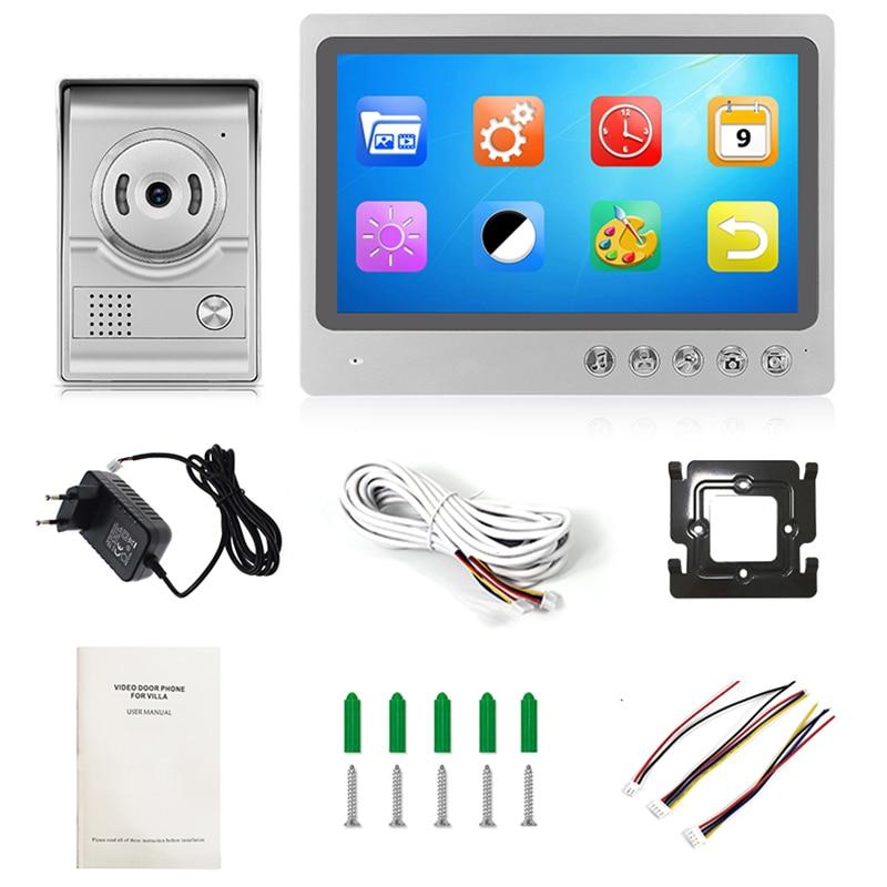 9-Inch Wired Video Intercom Doorbell Over Waterproof Outdoor Infrared Camera For Home Security Eu Plug