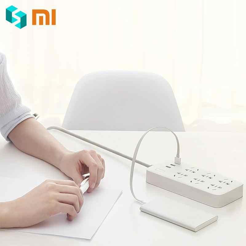 Oryginalny Xiao mi mi jia listwa zasilająca wersja podstawowa 6 gniazda z 3 5V 2.1A szybkie ładowanie portów USB biały mi gniazdo jednolity kolor