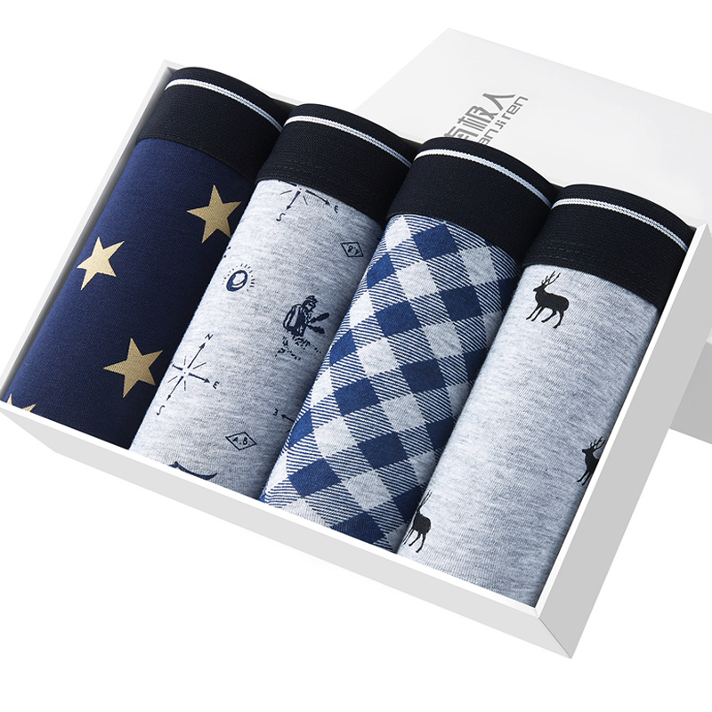 4pairs/lot Tide brand men's cotton printed underwear young students boxer pants large size L-5L boxed