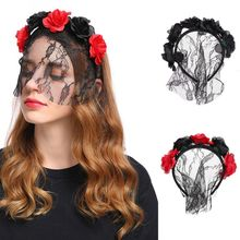 Women Girls Artificial Rose Flower Half Lace Veil Mask Headband Vintage Halloween Xmas Sexy Hair Hoop Masquerade Party Costume