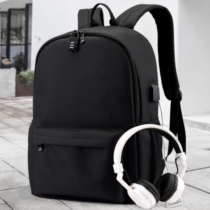Electronic Music DJ Smiley Cotton Candy Student Backpack USB School Bag Computer Bag Casual Backpack Candy-Colored MEN'S AND WOM