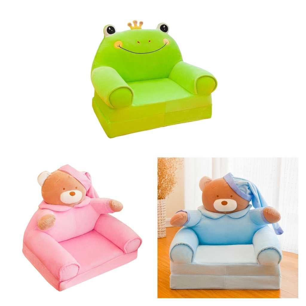 Yumuşak peluş çocuklar katlanabilir kanepe arkalığı sandalye kılıfı çocuk katlanır şezlong kanepe kılıfı yedek karikatür hayvan şekli