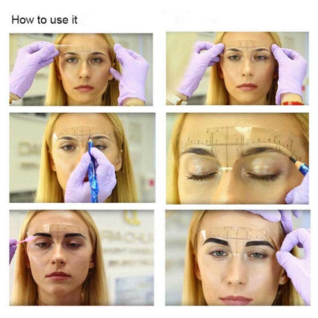 100pcs Reusable Semi Permanent Eyebrow Stencil Makeup Microblading Measure Tattoo Ruler Tools,Eyebrow Stencil 5