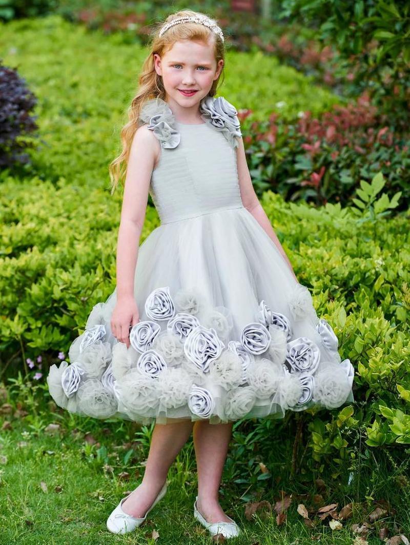 Цветочное платье для девочек с квадратным вырезом, ТРАПЕЦИЕВИДНОЕ пышное платье, платья для девочек для первого причастия, свадебное плать...