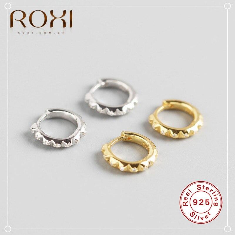 ROXI 925 Sterling Silver Miniature Round White Zircon Small Stud Earrings for Women Gift Fashion Jewelry Brinco Earing Oorbellen