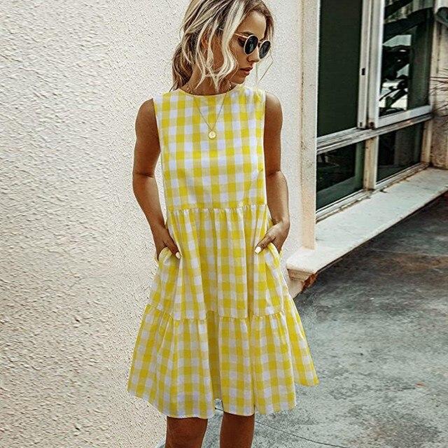 Women Summer Dresses Plaid Sleeveless Casual Sundress A Line Mini Dress Pocket O Neck Loose Beach Dresses Vestidos De Verano 5