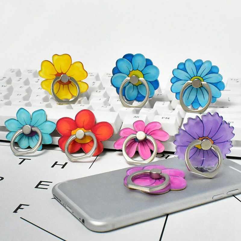 Anel fivela de telefone móvel suporte dos desenhos animados bonito crisântemo chá flor telefone móvel diy anel fivela suporte