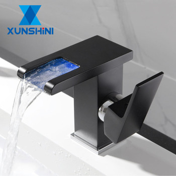 XUNSHINI LED RGB color change Waterfall Bathroom Basin Faucet Bathroom Mixer Tap Sink Faucet Single Handle Toilet Mixer Tap led color changing waterfall spout bathroom faucet brushed nickel mixer tap