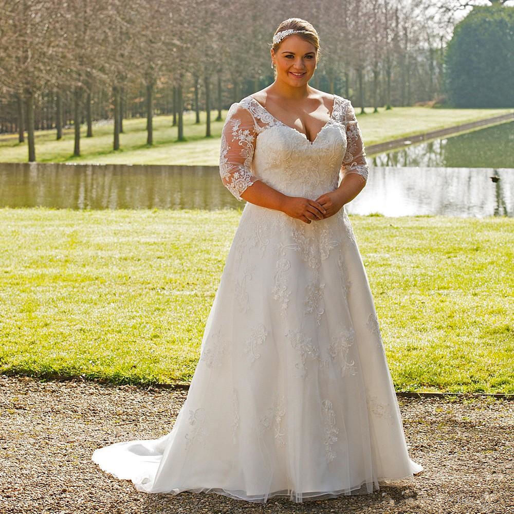 Modest V-neck Plus Size Wedding Gown With Sleeves A-line Appliqued Bridal Dress 2020 Vestido De Novia Customized