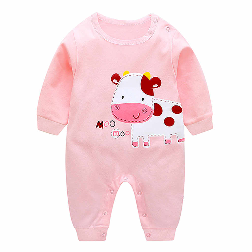 Newborn Infant Baby Clothes Caysal Kids Boy Girl Print Cotton Cartoon Cow Romper Jumpsuit Clothes Outfits Costumes Pajamas 2019
