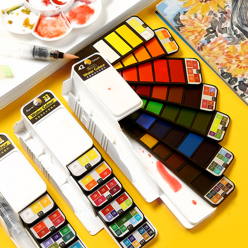Conjunto contínuo portátil superior da pintura da aguarela com a pena da escova da água tintas da cor do pigmento para a pintura aquarelle fontes da arte|Water Color|   -