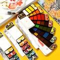 Улучшенный Портативный Твердые акварельные краски в наборе с кисточек для рисования количество ручка акварельные краски, пигмент для ману...