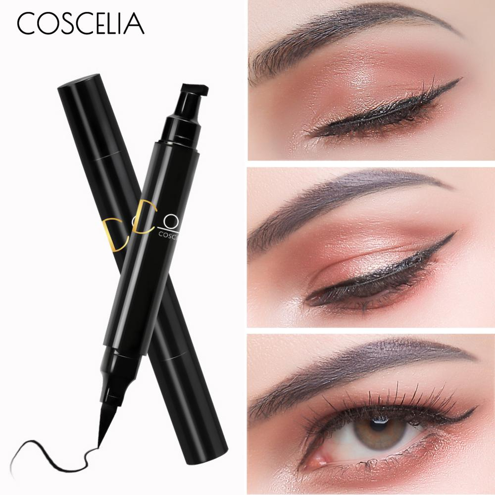 COSCELIA New Brand Eye Liner Eyeliner  For Make Up Pencil Waterproof Black Double-ended Makeup Stamps Eyeliner Pencil