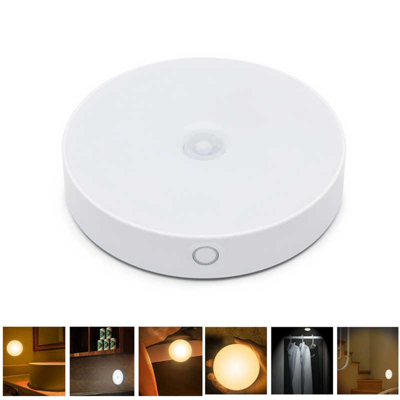 CLAITE 6 LED USB Rechargeable PIR Motion Sensor Light Control LED Night Lamp Magnet Wall Light Warm White for Cabinet Bedside
