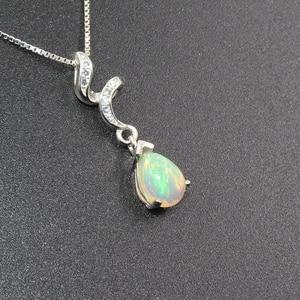 Image 3 - 925 silver opal pendant for woman 6 mm * 8 mm pear cut natural Australia opal gemstone pendant sterling silver opal jewelry
