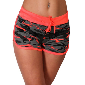 Women Sport Yoga Shorts Cool Short Fitness Camouflage Elastic Running Outdoor Broadcloth Print Polyester