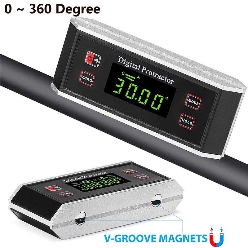 Водонепроницаемый цифровой прецизионный угломер, инклинометр, V-Groove 0 ~ 360 градусов, угломер, измеритель, угловой ящик
