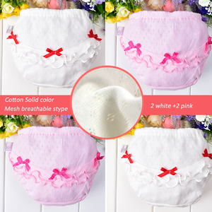 4pcs/Lot Cotton Kids Panties Underwear Lace soft breathable Briefs for Children Baby Girls Shorts Knickers Underpants 0-7years