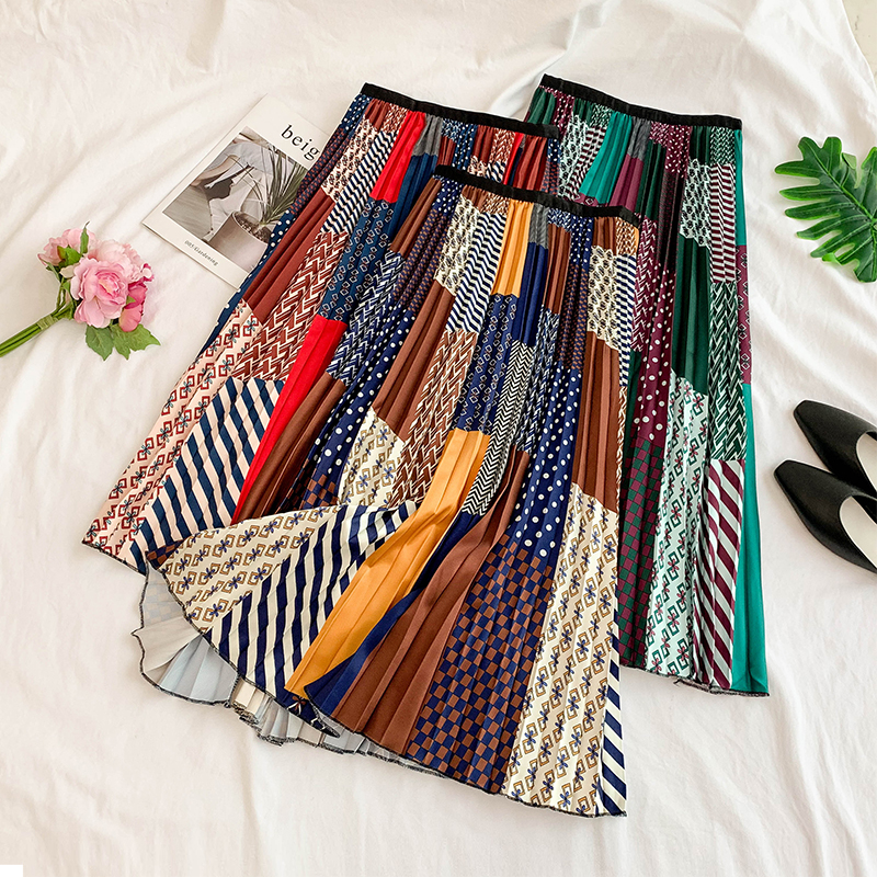 2019 Summer Women's Geometric Pattern Print Pleated Skirt High Waist Fashion Temperament Elastic Pleated Skirt Large Swing