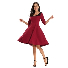 2020 Women Elegant V-Neck Half Sleeve Patchwork Casual Party Wear To Work Office Casual Party Fit and Flare A-Line Skater Dress цена и фото