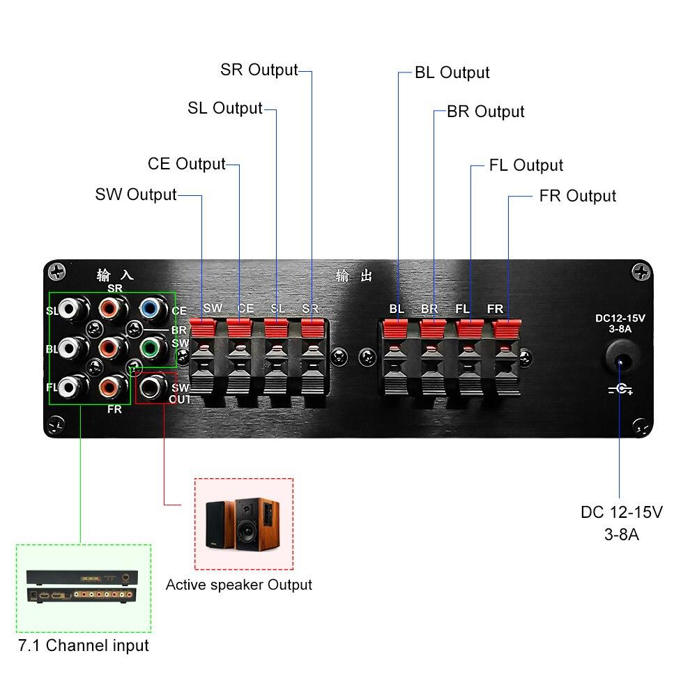 AIYIMA 7.1 Home cinéma puissance AV amplificateur 8x20W 8 canaux Audio son amplificateur actif Subwoofer haut parleur Amplificador - 4