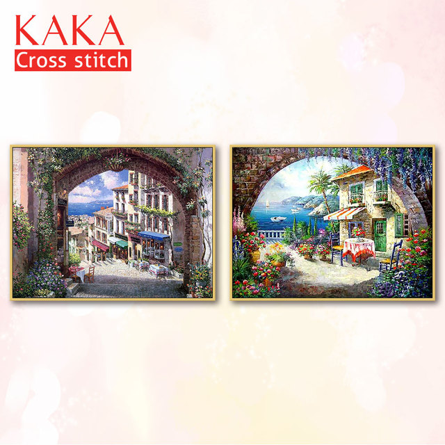 $ US $19.56 Cross stitch kits,Embroidery needlework sets with printed pattern,11CT-canvas for Home Decor Painting,Landscape Full NCKS091