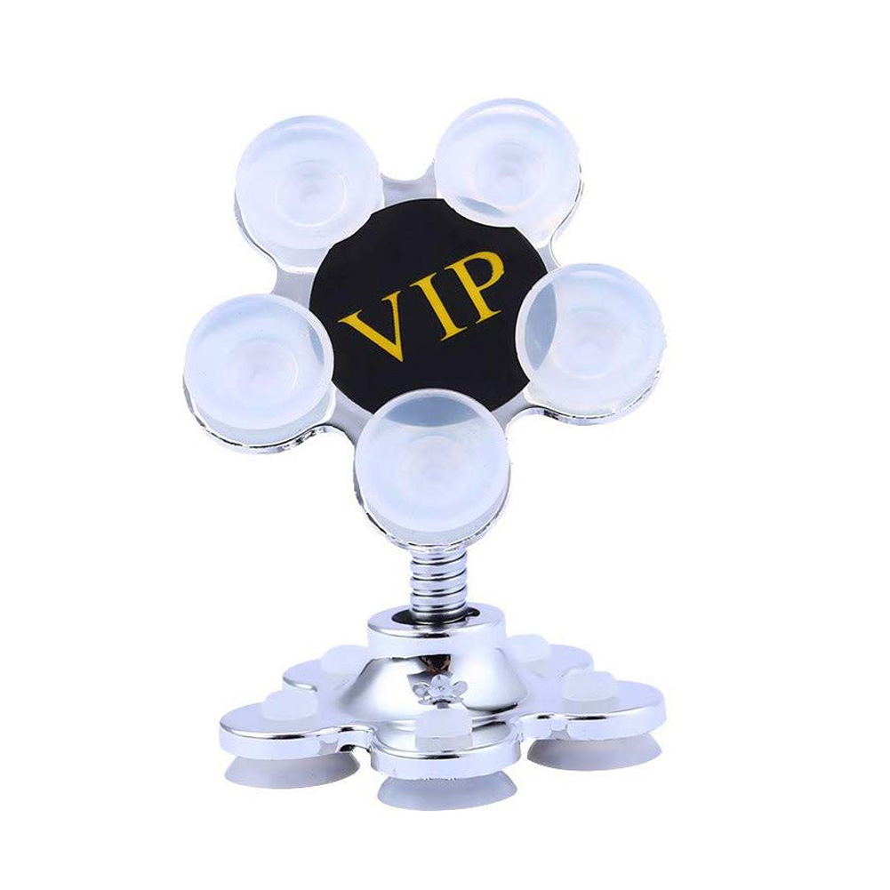 Universal Two-sided Sucker Stand Car Phone Holder 360 Degree Rotatable Magic Suction Mount Bracket Silver Sun Flower Shape