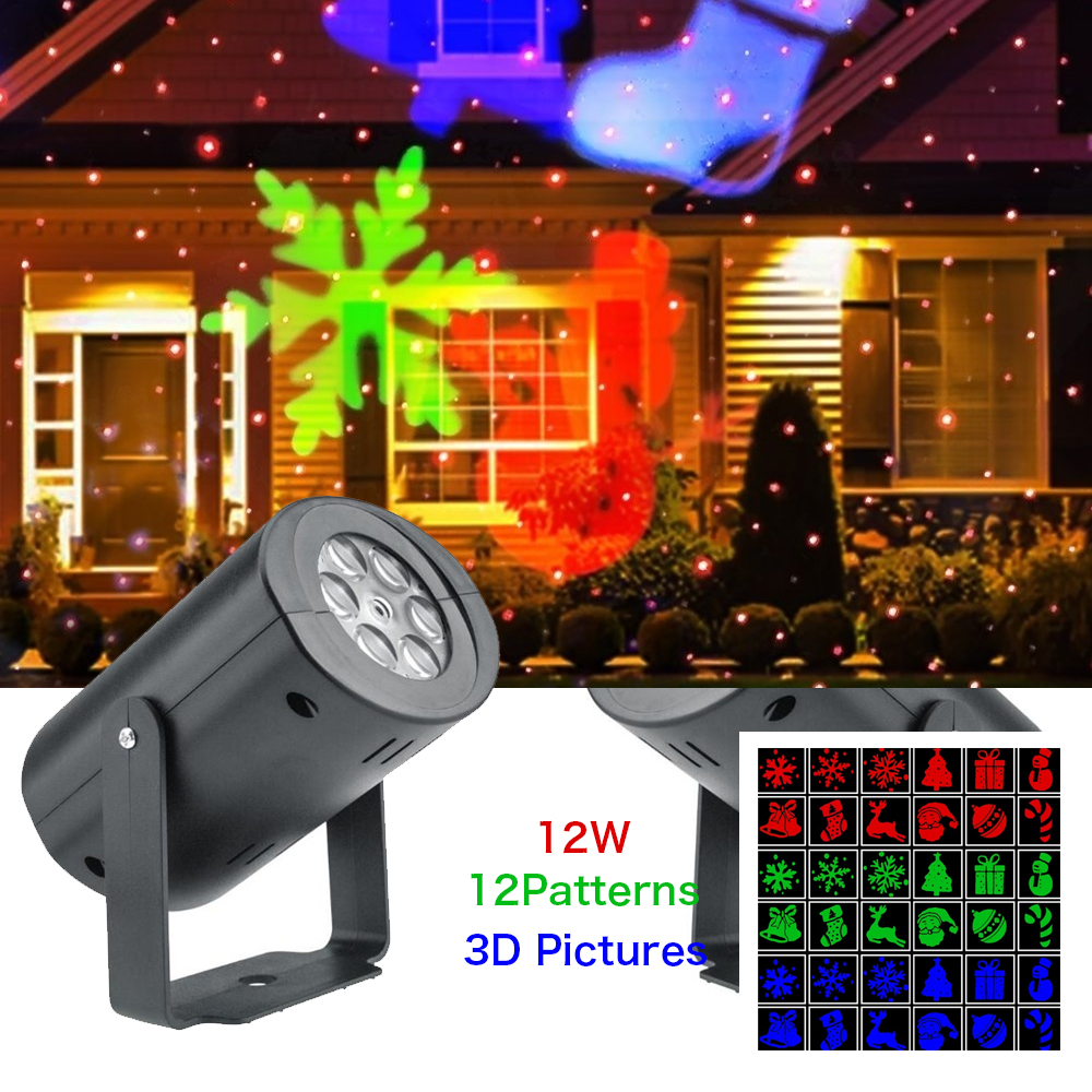 Christmas 12 Pattern Automatic Rotating LED Projector Lights Waterproof Indoor Christmas Spotlight Night Lights Landscape Lamps