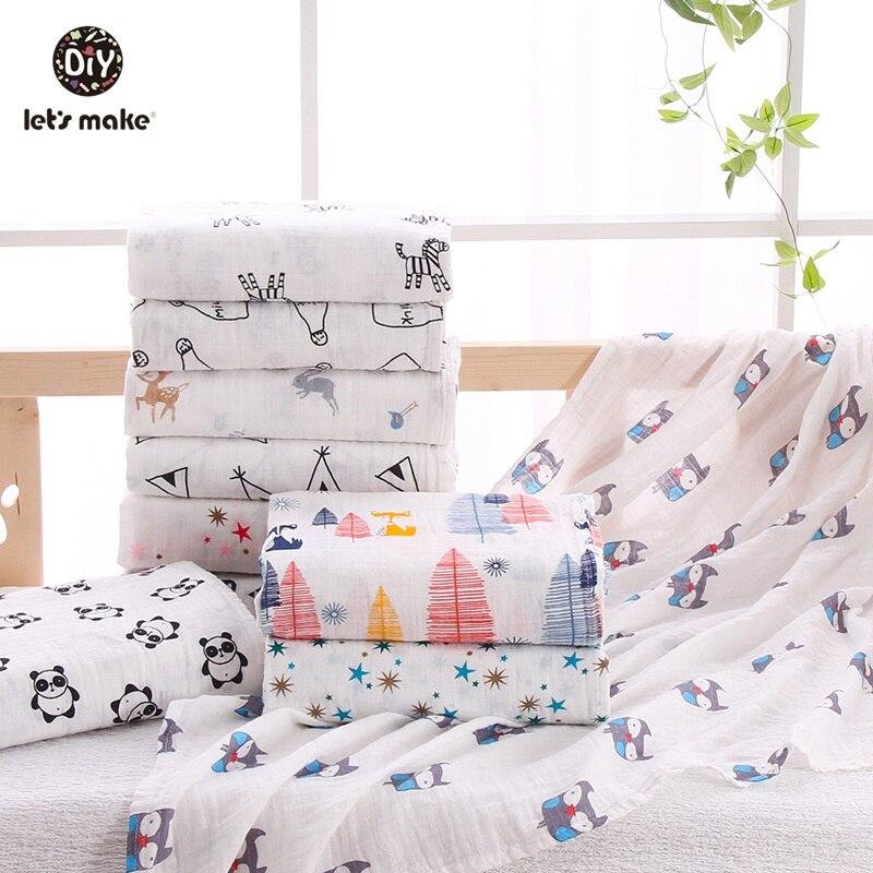 Let's Make Baby Blankets Knitting Swaddling Cartoon Animal Zebra Panda Infant Muslin Diapers Toddler Bedding Baby Swaddle Wrap