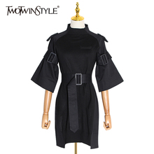 TWOTWINSTYLE Casual Black Dress For Women Turtleneck Flare Sleeve High Waist With Belt Dresses Female 2020 Spring Fashion New