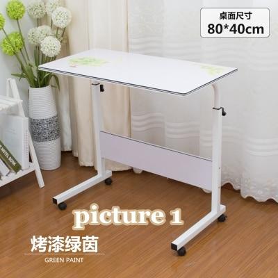 Домашний простой стол для ноутбука портативный легкий подъем подвижный настольный компьютерный стол ленивый прикроватный столик серповидный обеденный стол с грузовиками - Цвет: picture 1