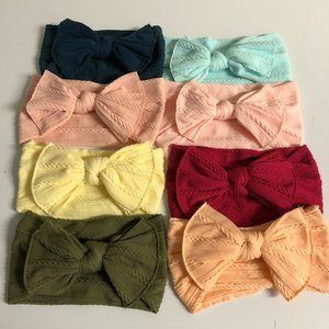 Image 5 - Newborn Kids Cable Knit Wide Nylon Headbands,Knotted Hair Bow Baby Ribbed Turban Headwraps,Children Girls Headwear 30PC/lot