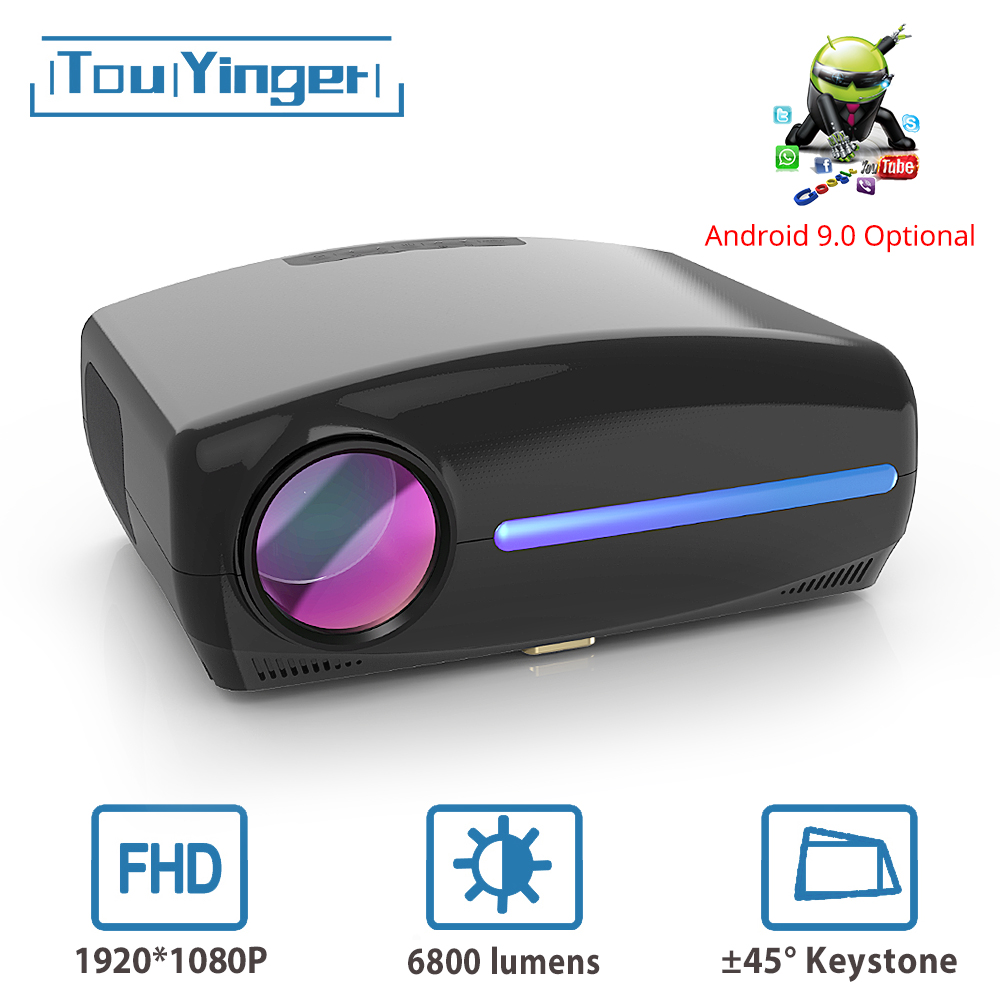 Touyinger s1080 c2 led projetor completo hd, 6800 lumens 1080p vídeo marca beamer, ac3 hdmi cinema em casa android 9.0 wifi opcional