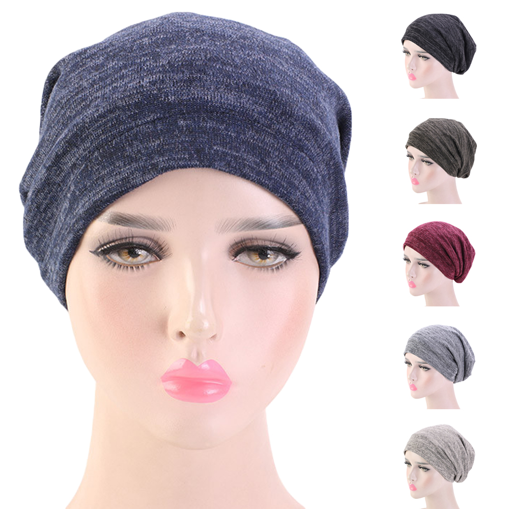 Women Headwear Soft Turban Night Sleep Cap Unisex Men Beanie Bonnet Headscarf Baggy Cancer Chemo Hats Elastic Band Satin Lining
