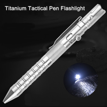Multi Function Titanium Tactical Pen Flashlight Strobe Self Defense Emergency Window Hammer Outdoor Survival EDC Tool Gift
