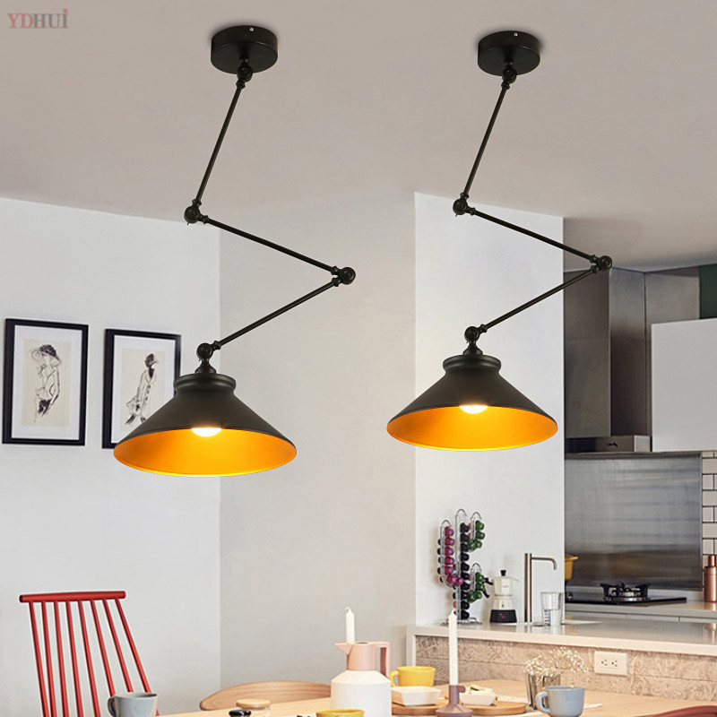 American Long Arm Adjustable Pendant Lights For Dining Room Bedroom Industrial Loft Decor Hanging Lamp Fixtures Led Luminaire