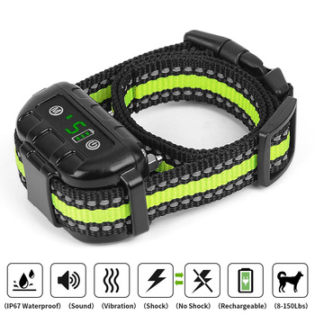 Anti Bark Collar Rechargeable Beep Vibration No Harm Electric Shock Dog No Bark Training Collar For Small Medium Large Dogs