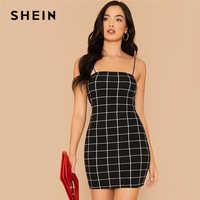 SHEIN Black Grid Print Bodycon Slip Dress Women Summer Autumn Slim Fit Spaghetti Strap Sexy Night Out Plaid Pencil Mini Dresses