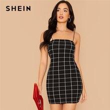 SHEIN negro Grid Print Bodycon Slip Vestido Mujer verano otoño Slim Fit Spaghetti Strap Sexy noche fuera Plaid lápiz Mini vestidos