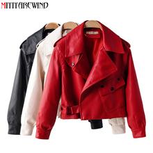 Wiosna jesień skórzana kurtka kobiety Faux PU skóra motocyklowa kurtka płaszcz Biker czerwony biały płaszcz skręcić w dół kołnierz luźne ubrania tanie tanio zipper Z KIESZENIAMI Faux leather CN (pochodzenie) Na wiosnę jesień Na co dzień REGULAR Pełne Skóra i zamszowe NONE