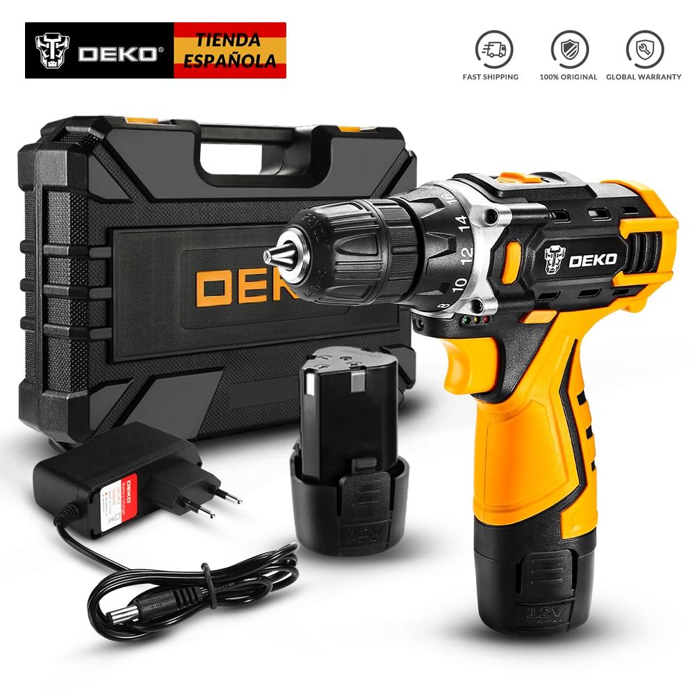 DEKO New Series 12V 16V 20V Cordless Drill Electric Screwdriver Mini Wireless Power Driver DC Lithium-Ion Battery 3/8-Inch