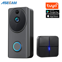 1080P Video kapı zili Wifi akıllı ev Tuya App telefon görüşmesi ses interkom kablosuz kapı zili kamera