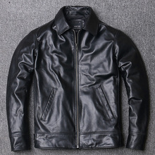 Cowhide Jacket.mens Coat.black Casual New Slim Outwear.quality Cheap
