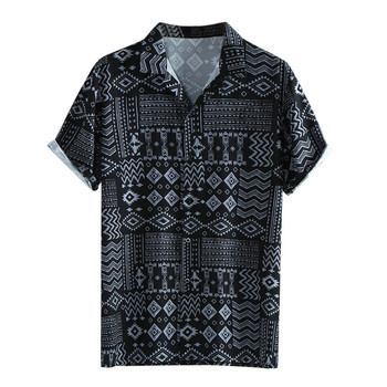 Men's Classic Summer Leaf Print Hawaiian Shirt Fashionable Lapel Short Sleeve Shirt Top Blouse Blusa Masculina Camicia Uomo #W 1