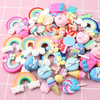 20/30Pcs Mix Candy Lollipop Polymer Clay Accessories Figurines DIY Craft Phone Patch Arts Material Kids Gift Toys Slimes Filler