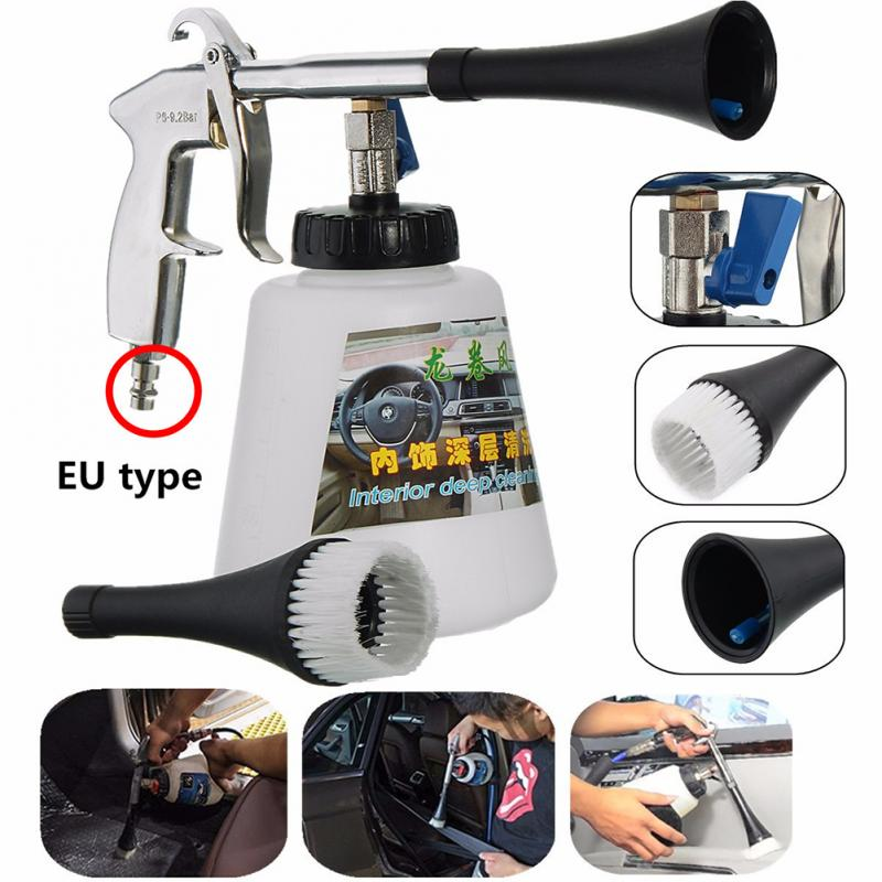 Car Interior Cleaning Gun Air Pulse Device Tornado Pneumatic Gun Home Foam Wash Sprayer Portable Air Gun With Brush Head