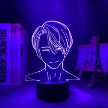 Yuri no gelo victor nikiforov conduziu a luz da noite para o quarto decoração nightlight presente de aniversário anime 3d lâmpada victor yuri no gelo