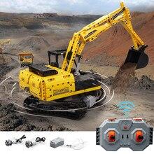 Máquina escavadora de engenharia urbana 2.4g de alta tecnologia plug-in controle remoto construção tijolos bloco carro brinquedo para crianças
