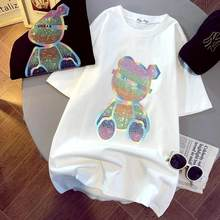 Spring Korean version of the new heavy industry color hot diamond loose hedging thick short-sleeved T-shirt female foreign style